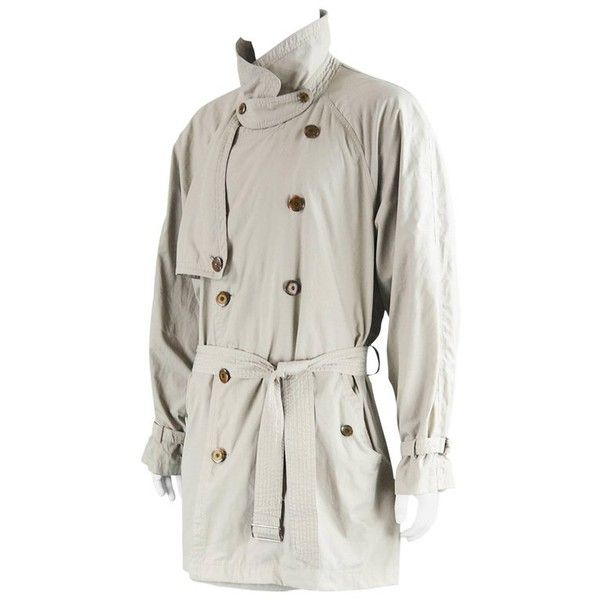 Preowned Yves Saint Laurent Men's Lightweight Cotton Double Breasted... ($268) ❤ liked on Polyvore featuring men's fashion, men's clothing, men's outerwear, men's coats, grey, jackets, mens ties, mens double breasted trench coat, mens coats and mens fur collar coat