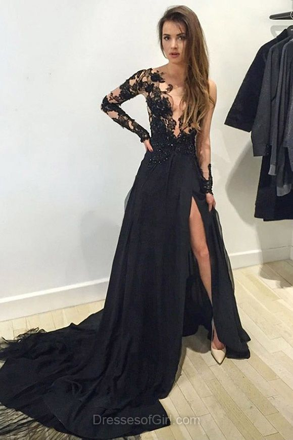 Scoop Neck Tulle Court Train Split Front Black Long Sleeve Prom Dress