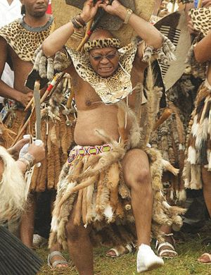 President Jacob Zuma of South Africa in traditional Zulu attire