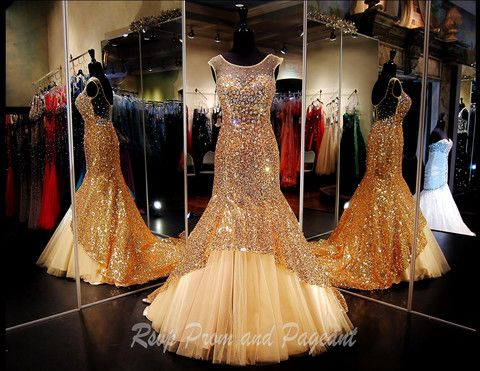 T35809 - This Gorgeous Mermaid has Sequins and AB Stones all over.  The Sheer Neckline gives this gown a very classy and elegant look.  Perfect for prom or pageant and Absolutely Stunning!  This is a Limited Edition Gown! http://rsvppromandpageant.net/collections/rsvp-exclusives/products/t35809