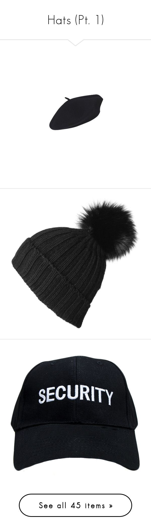 """""""Hats (Pt. 1)"""" by c-a-marie2000 ❤ liked on Polyvore featuring accessories, hats, black, beret, cappelli, beret hats, woolen hat, wool hat, wool beret hat and wool berets"""