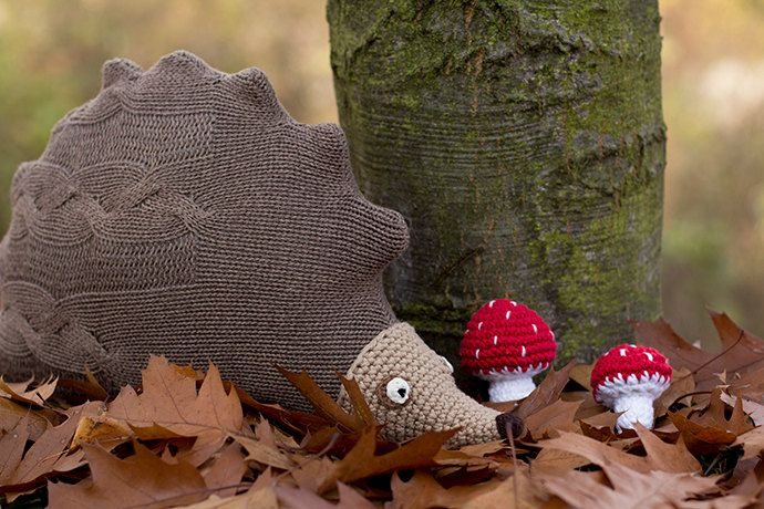 Hedgehog soft toy, upcycled sweater hedgehog cuddly toy, hedgehog cushion, throw cushion, woodland nursery, forest animals, natural softie by byGu on Etsy