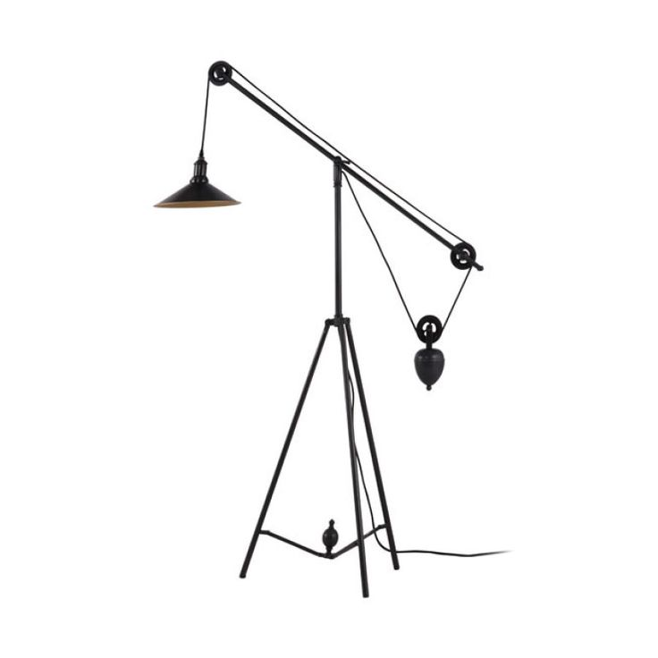 Featuring a synchronized pulley system, this floor lamp in antique black gold is every bit modern industrial cool. Place it next to your drafting table or in your home office. But don't say we didn't w...  Find the Pulley Floor Lamp, as seen in the Industrial Chic Collection at http://dotandbo.com/collections/industrial-chic?utm_source=pinterest&utm_medium=organic&db_sku=ZUO0081
