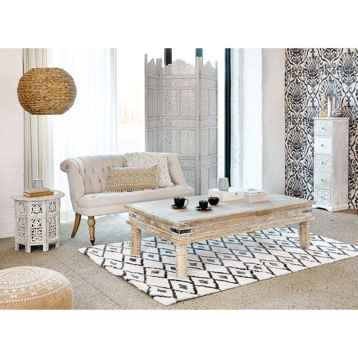 SARANYA carved wood side table in whitewash finish W 46cm | Maisons du Monde