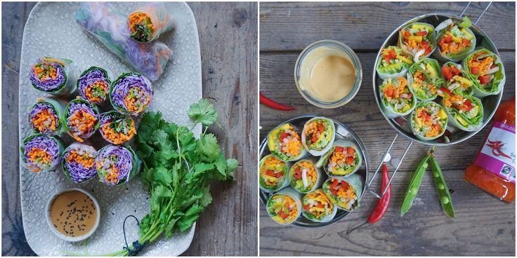 Vanløse blues.....: Rispapir ruller med sød kartoffel, rødkål og hvidløgsspirer