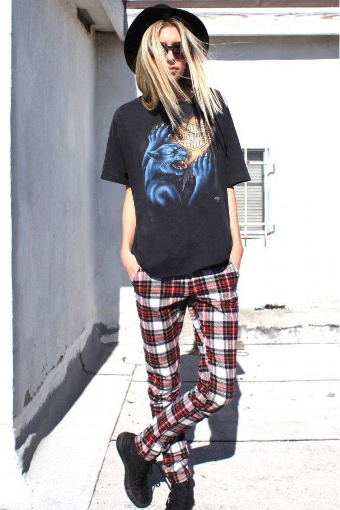 Grunge tartan trousers