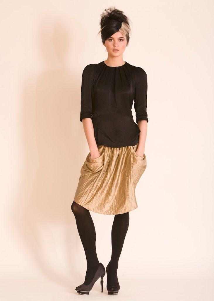 Still Life Anais top and metallic skirt