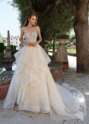 f80c54017 Style: 10574 | Ashley & Justin Bride beaded tulle ball gown layered skirt wedding  dress