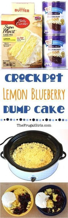Crockpot Lemon Blueberry Dump Cake Recipe! ~ at http://TheFrugalGirls.com ~ this delicious Crock Pot dessert is SO easy... just dump it in and walk away!