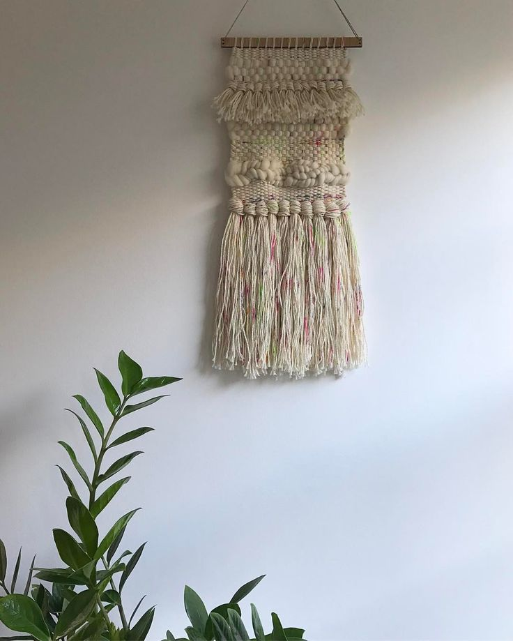 """264 Likes, 7 Comments - WEAVING & SPINNING KITS (@theunusualpear) on Instagram: """"New wall hanging. Organic merino and rainbow yarn, hanging out on a medium bamboo hanger 😍"""""""