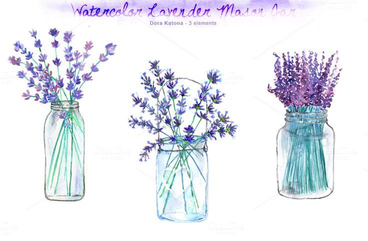 Watercolor Lavender Mason Jar by Dora Katona on Creative Market