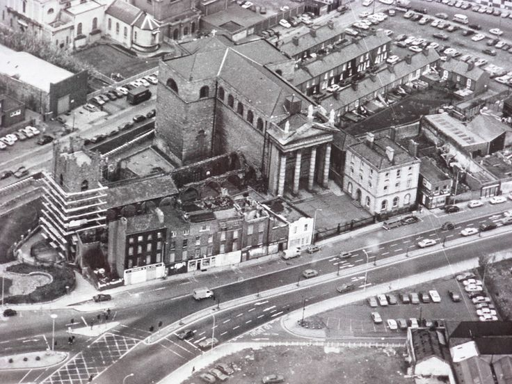 Aereal view of High Street, Dublin 8, all of the terrace in front of St Auden's has now disappeared.