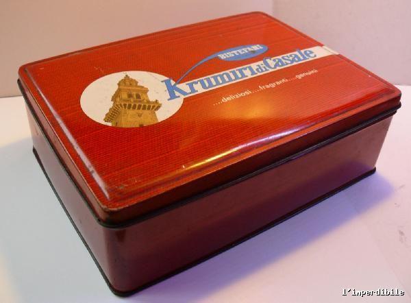 Antica scatola di latta della Bistefani Krumiri del casale biscotti | eBay