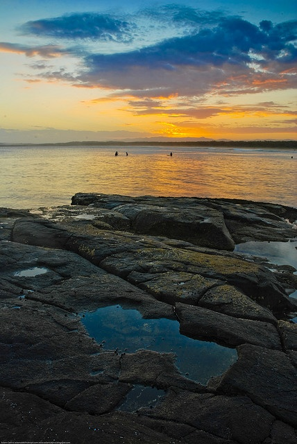 Rockpool at sunset on Broulee Beach on the South Coast of New South Wales, Australia