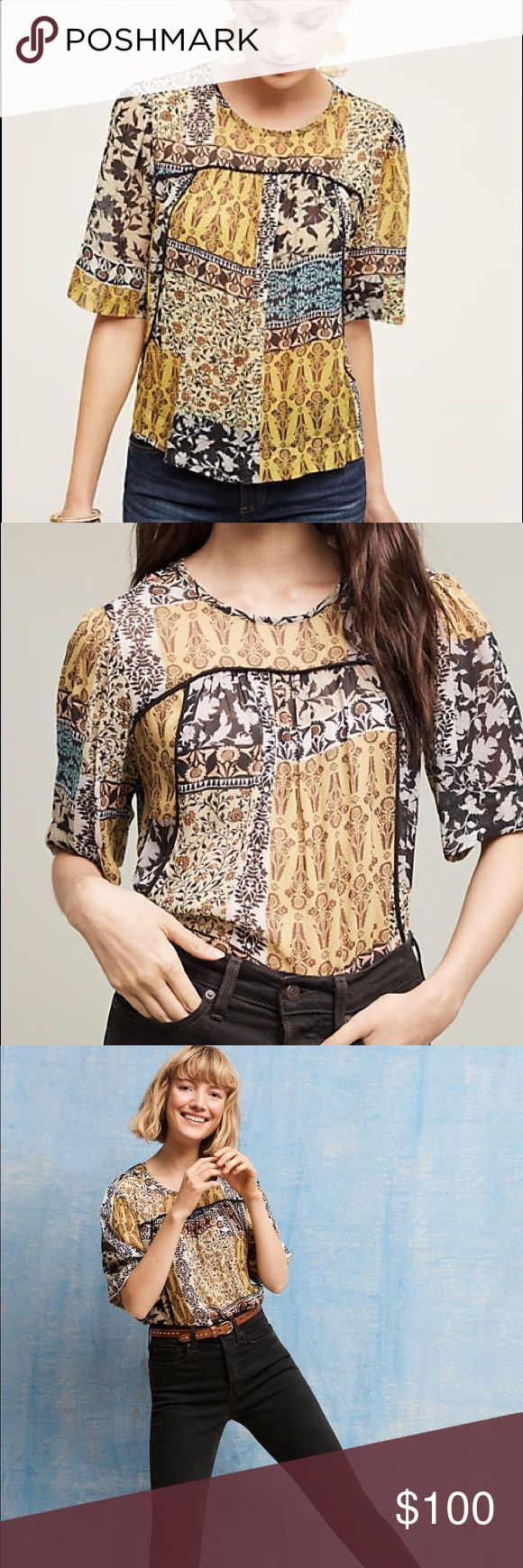 Anthropologie deka Weston blouse San Francisco designer Julienne Weston's dance background, along with her love of art and music, inspire her Weston line: a collection that runs the gamut from elevated tees to party-ready dresses. No trades By Weston Rayon Pullover styling. This would fit small-large. Anthropologie Tops Blouses