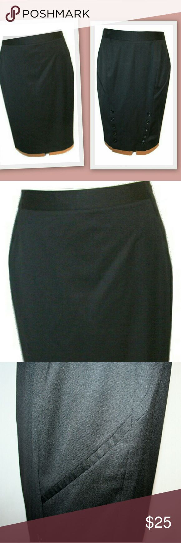 "Ted Baker London wool blend pencil skirt Ted Baker London wool blend pencil skirt. This sexy skirt has double back vents with logoed buttons. Side invisible zipper.  Lined. Pick stitching on the waistband.   65% wool 35% polyester   Size 2 Waist 30 1/2"" Hips 37"" Length 23"" Ted Baker London Skirts Pencil"