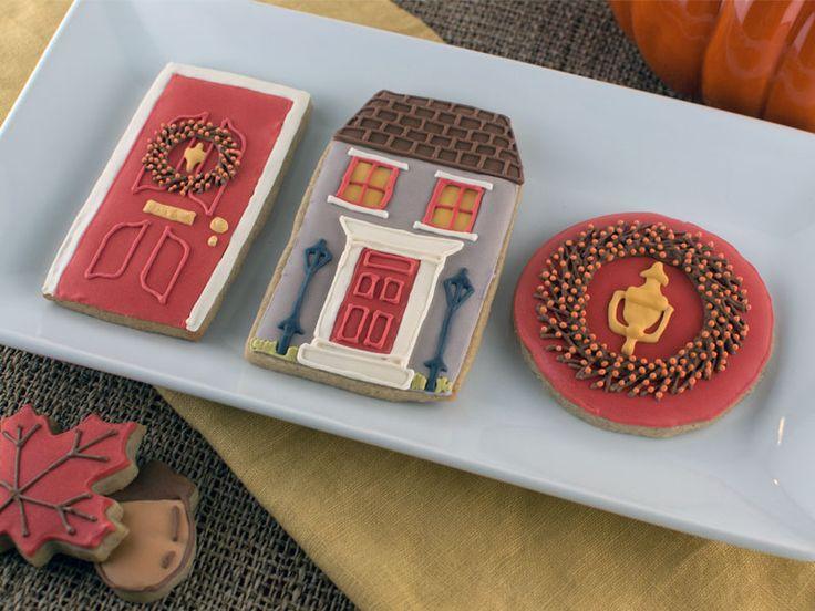 fall housewarming cookies: front door, wreath, house