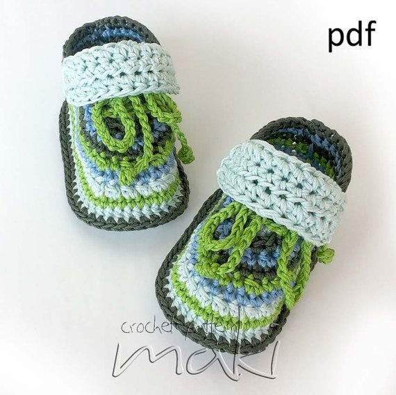 Baby crochet pattern Super cute baby sneakers! For boys and girls! Permission to sell finished items Full of large pictures! Pattern No. 109    PLUS