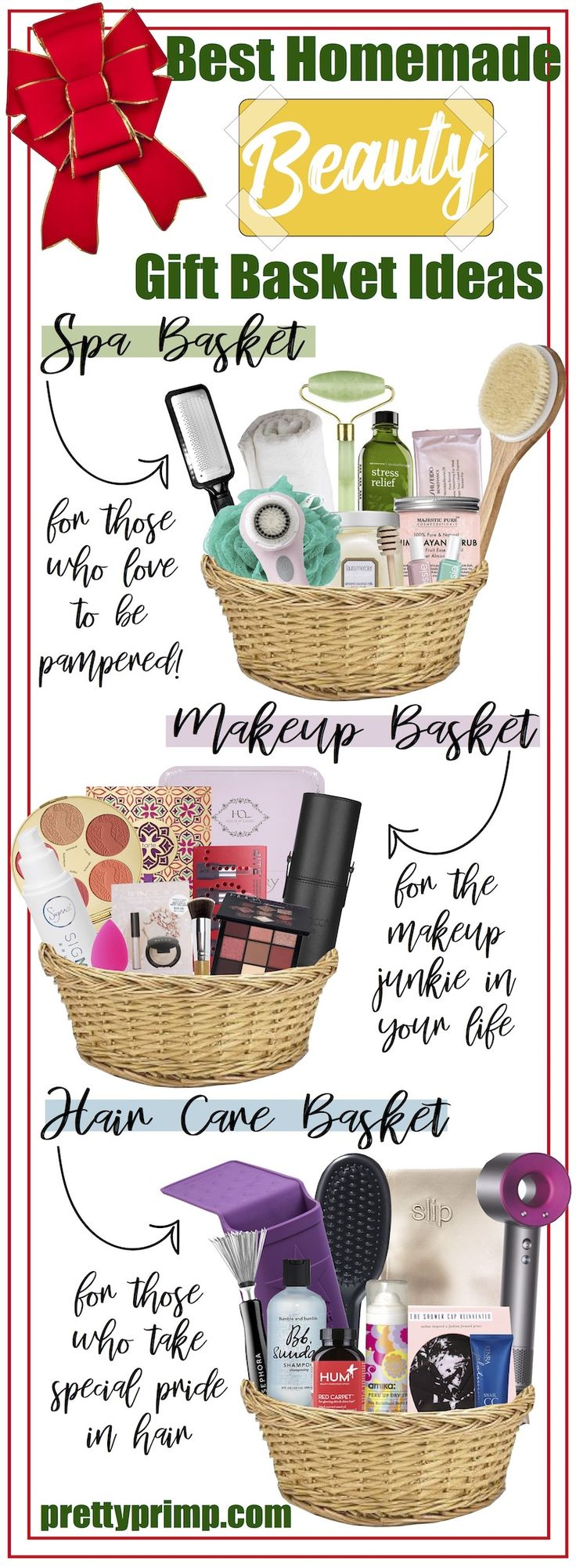 The best homemade and DIY gift basket ideas for women for Christmas! Check out these baskets filled with creative expensive AND cheap beauty products!