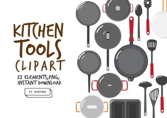 Kitchen Tools Clipart Pack 1 Diy Elements Illustration Printable Instant Download Diy Clip Art Downloadable