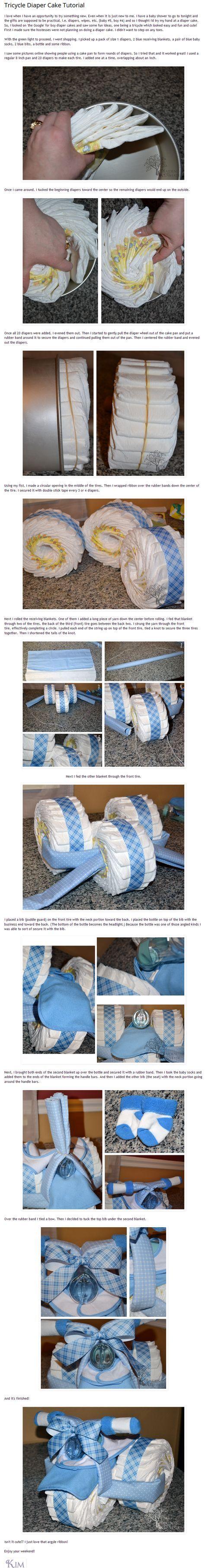 Tuto pour faire un tricycle avec des couches :) D'autres jouets pour bebe => http://amzn.to/2nK8lcv
