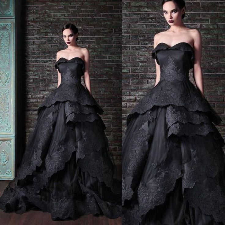 Wedding Gowns Dresses New Gothic Black Wedding Dresses Vintage Sweetheart Ruffles Lace Tulle Ball Gown Sweep Train Tie Up Back Bridal Gowns Custom W644 Wedding Dress Ball Gowns From Find_my_dress, $132.99| Dhgate.Com