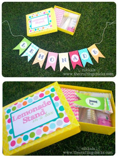 "This is an Adorable FREE printable for a ""Lemonade Stand in a Box"", little girls would love this!"