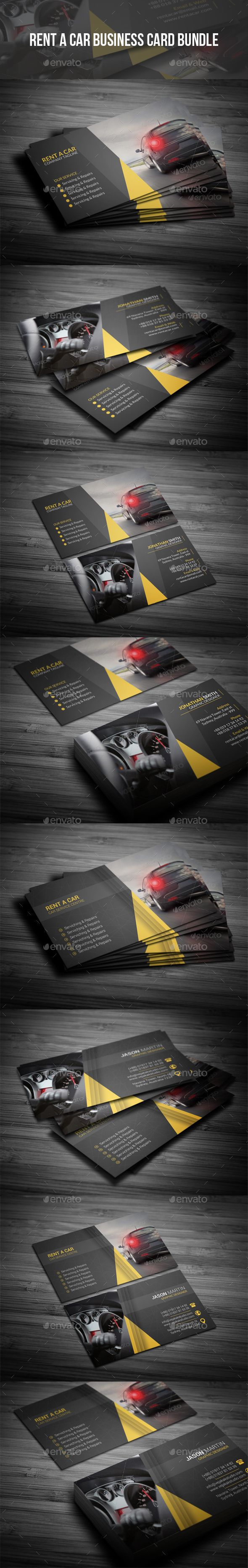 Rent A Car Business Card Bundle - #Creative #Business #Cards Download here: https://graphicriver.net/item/rent-a-car-business-card-bundle/19226876?ref=alena994