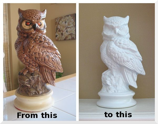 Impressive makeover for the owl - from unfortunate to fabulous.  With white paint.