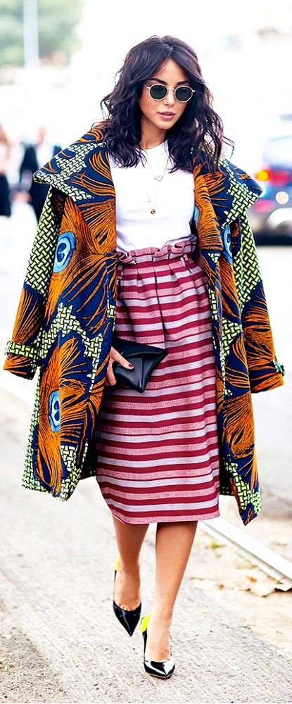 Be bold this fall and pair a printed coat with a printed skirt and casual tee.