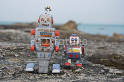 Two tin toy robots on the rocks