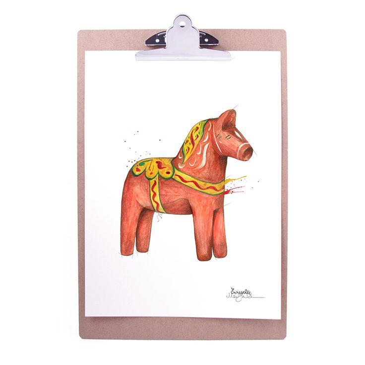 """Dalahäst"" (Dala horse / Dalahest) Copyright: Emmeselle.no Illustration by Mona Stenseth Larsen"