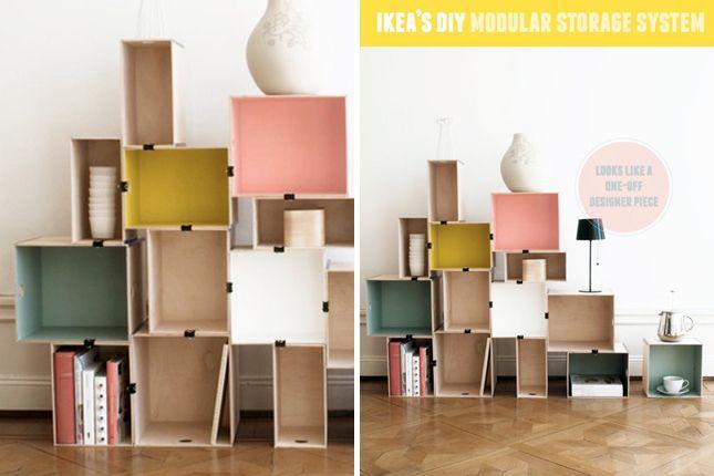 Modular Storage from Ikea   40 Brilliant DIY Organization Hacks