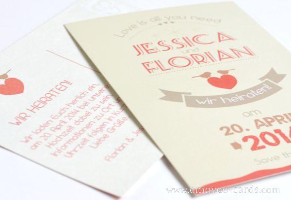 Coral wedding: Save the Date by e-MoVeo Cards Invito Matrimonio Hochzeitseinladung #Save_the_date #Corallo www.emoveo-cards.com