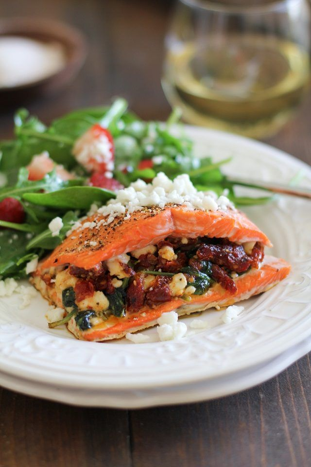 Serve this stuffed salmon with a side salad for a healthy meal. I was actually able to get this recipe with this link.