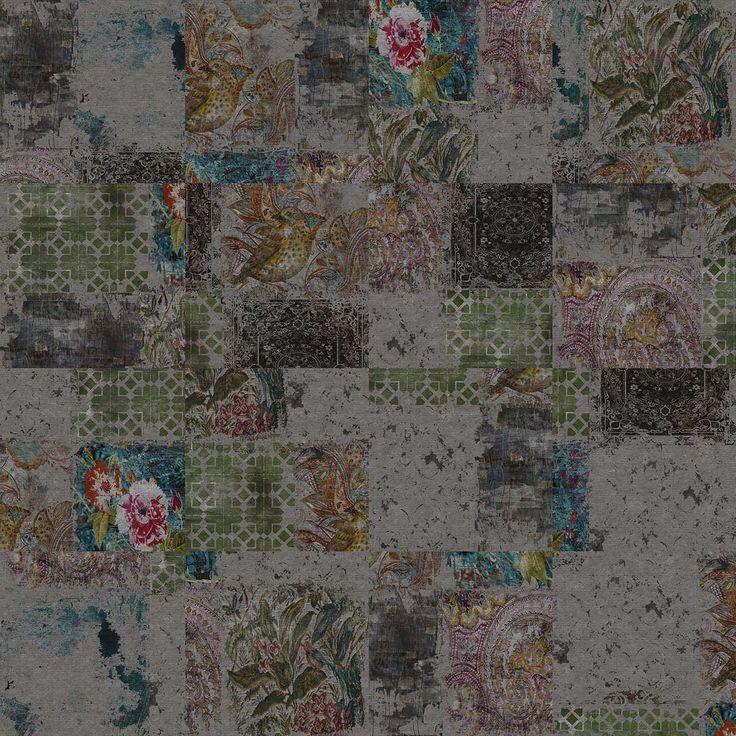 Tapis imprimé par Yo2 - des patchworks qui semblent usés par le temps, de belles harmonies de couleurs éteintes, love... I Printed rug by Yo2 I www.yoyo-designs.com