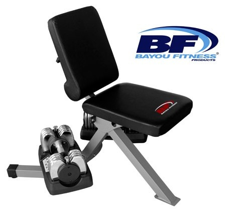 Bayou Fitness BF-0225-DB Dumbbell Bench with 2 (Two) 25 lb Dumbbells