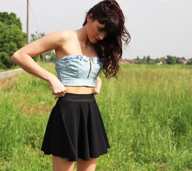 Completo gonna nera con elastico e top di jeans di My Little Sunshine su DaWanda.com