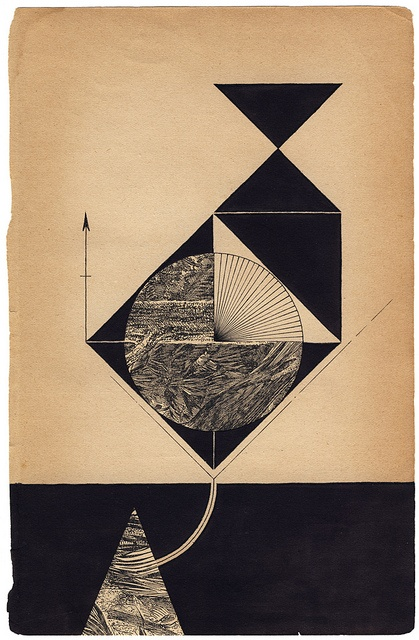 Louis Reith Collage and ink on a book page. 160 x 245 mm