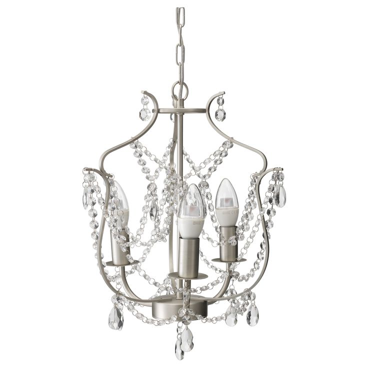 IKEA - KRISTALLER, Chandelier, 3-armed,  , , The height is easy to adjust by using the S-hook or cutting the chain.