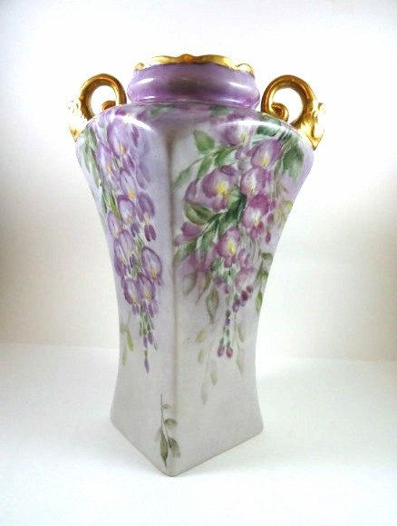 Elegant Victorian Hand Painted Porcelain Lavender Wisteria Vase