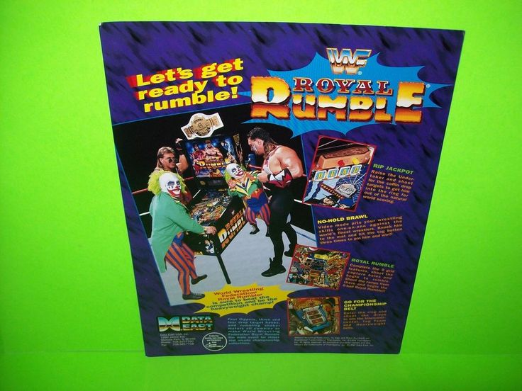 Data East ROYAL RUMBLE Original 1994 Flipper Game Pinball Machine Promo Flyer #DataEast