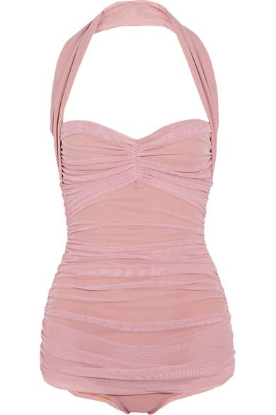 Norma Kamali - Bill Mio Ruched Stretch-tulle Swimsuit - Pastel pink - medium
