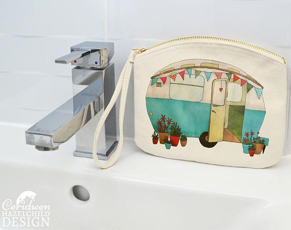 Caravan Canvas Zip Purse Makeup Bag Coin Purse Small Accessory Pouch by ceridwenDESIGN http://ift.tt/1pRP4pQ