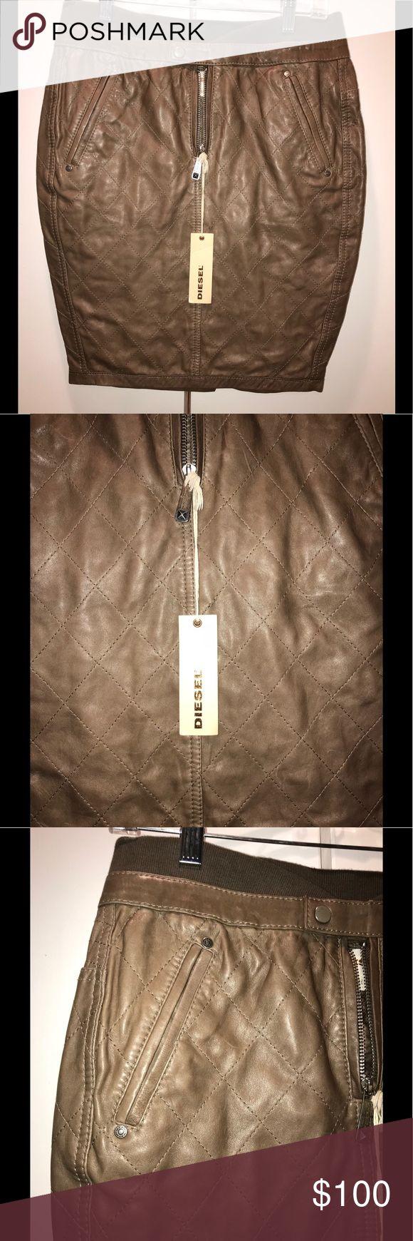 Diesel Brown Leather Skirt Diesel Skirt NEW With Tag European size 28 Diesel Skirts Midi
