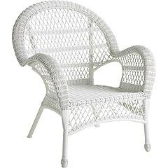 White wicker chair.