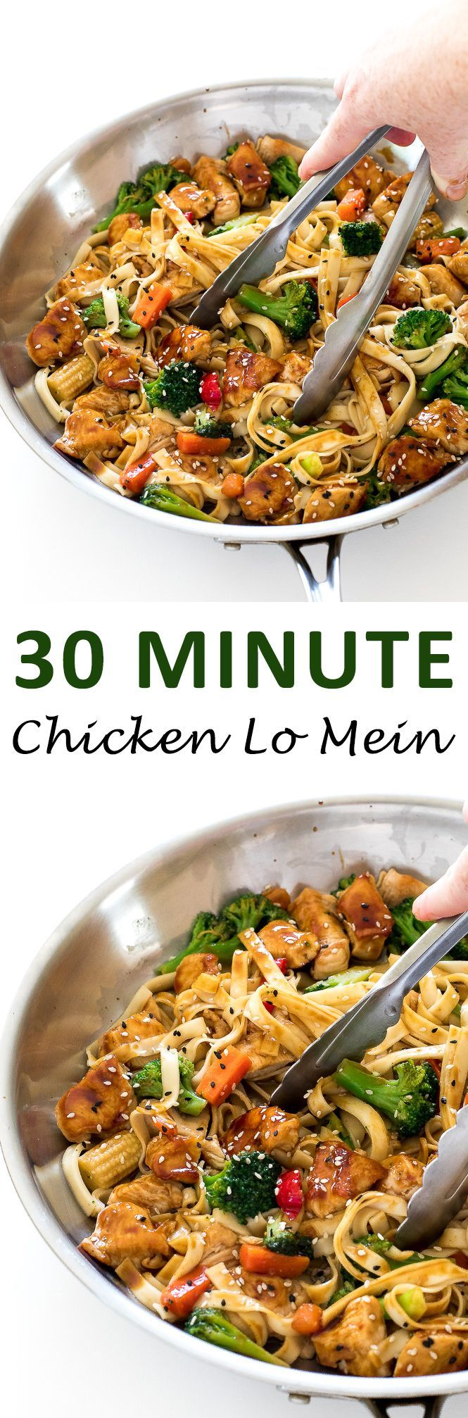 Chicken Lo Mein. Ready in under 30 minutes and tastes way better and is healthier that takeout!   chefsavvy.com #recipe #chicken #dinner #lo #mein