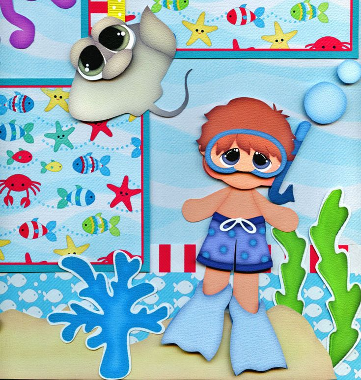 2 12x12 premade scrapbook pages. ~ Vacation ~ Ocean ~ Swimming ~ Snorkeling ~ Aquarium ~. - UNDER THE SEA -. Adorable 3D art has been printed, hand cut, and made 3d with foam squares. | eBay!