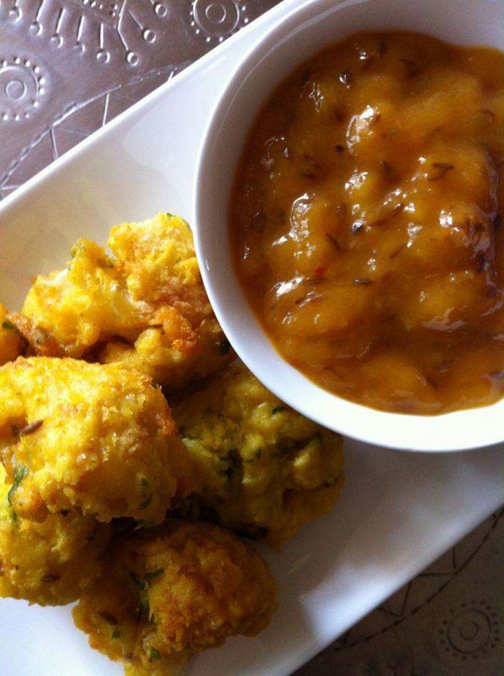 Cauliflower Pakoras and Mango Chutney from VegFusion