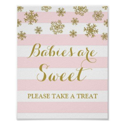 Babies are Sweet Sign Pink Stripes Gold Snow - light gifts template style unique special diy